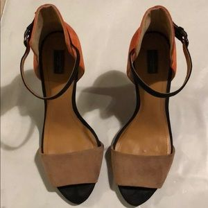 Zara Nude and Orange Colorblock Heels